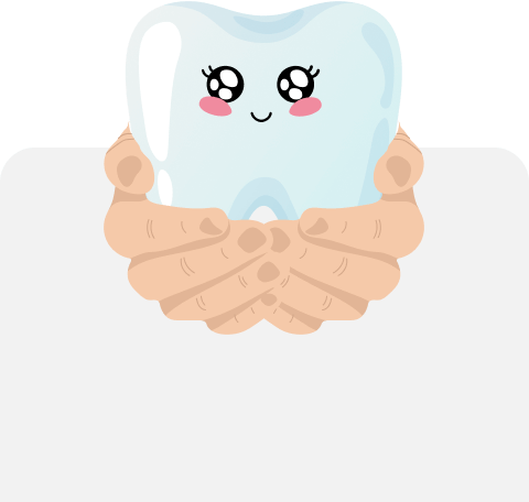 hands holding a smiling tooth graphic