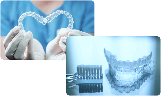 dentist holding invisalign next to tooth brush and clear aligners