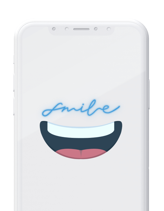 white iphone with smile graphic